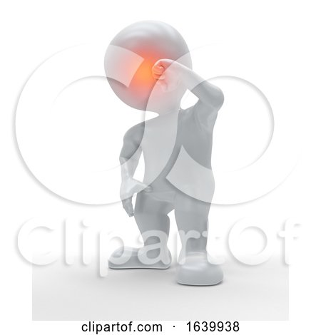 3D Figure Holding the Front of His Head in Pain by KJ Pargeter