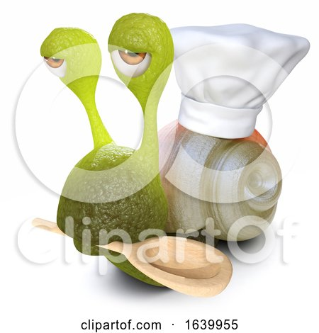 3d Funny Cartoon Snail Bug Wearing a Chefs Hat and Carrying Wooden Spoon by Steve Young
