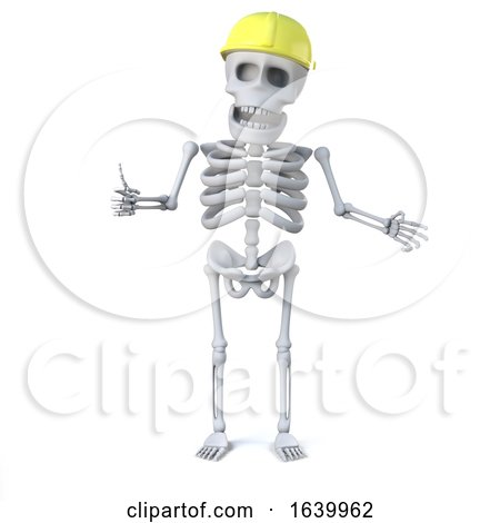 3d Skeleton in Hard Hat Gives the Thumbs up Sign by Steve Young
