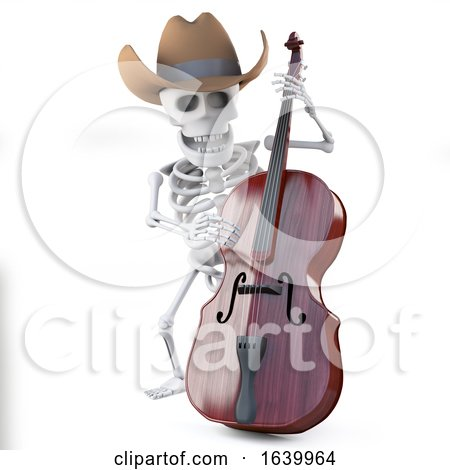3d Cowboy Skeleton Plays the Double Bass by Steve Young