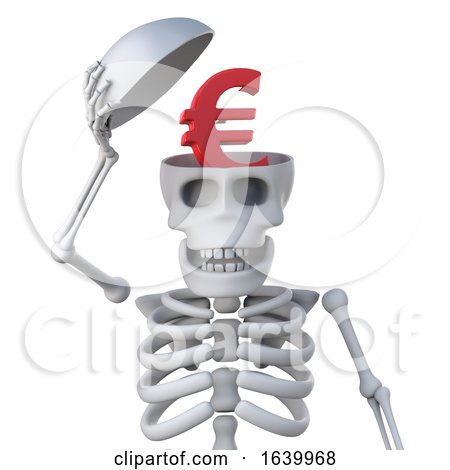 3d Skeleton Has a Euro Currency Symbol Inside His Head by Steve Young