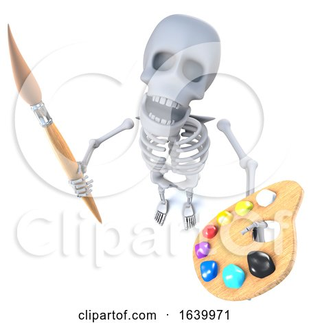 3d Funny Cartoon Skeleton Artist Holding a Paint Brush and Palette by Steve Young