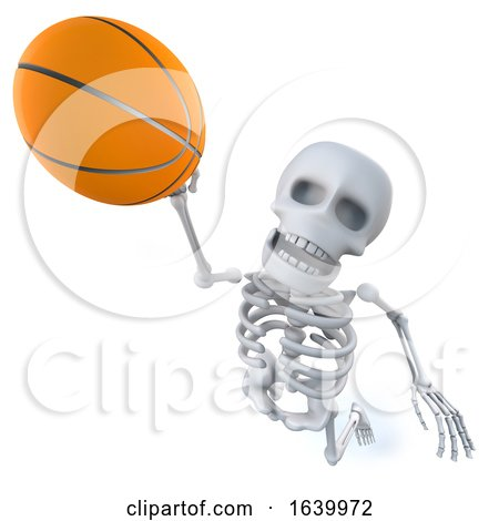 3d Funny Cartoon Skeleton Shoots a Basketball by Steve Young