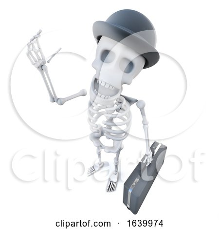3d Funny Cartoon Skeleton Businessman Character with Briefcase and Bowler Hat by Steve Young