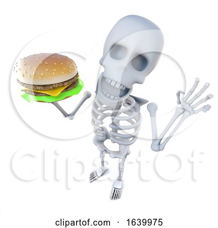 3d Funny Cartoon Skeleton Holding a Cheeseburger by Steve Young