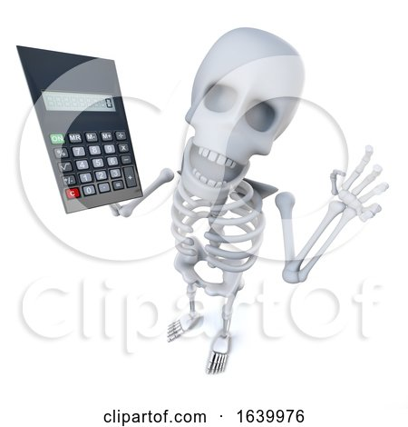 3d Funny Cartoon Skeleton Character Using a Calculator by Steve Young