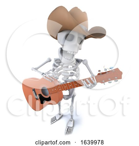 3d Funny Cartoon Skeleton Character Wearing a Cowboy Hat and Playing Guitar by Steve Young