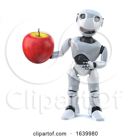 3d Robot Has a Red Apple by Steve Young