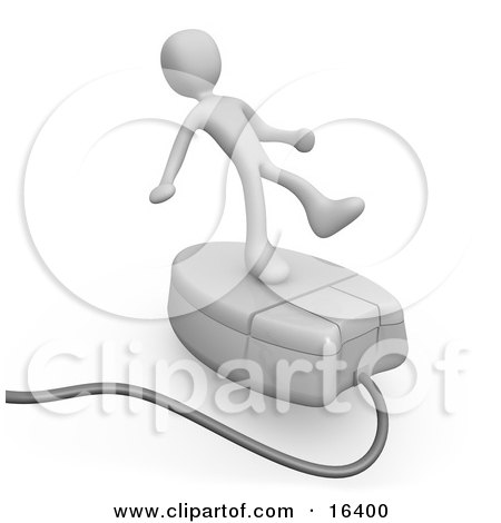 White Person Trying To Maintain His Balance While Riding On A White Computer Mouse And Surfing The Internet Clipart Illustration Graphic by 3poD