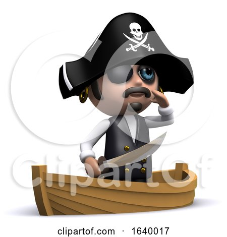 Funny Cartoon 3d Pirate Character Sailing in His Boat by Steve Young
