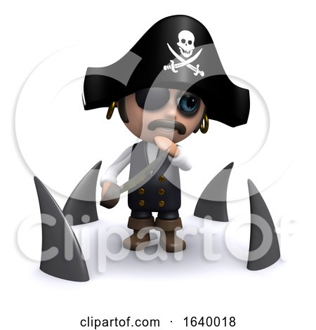 Funny Cartoon 3d Pirate Captain Character Surrounded by Sharks by Steve Young