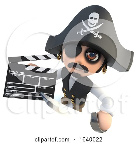 3d Funny Cartoon Pirate Captain Making a Movie with a Clapperboard by Steve Young