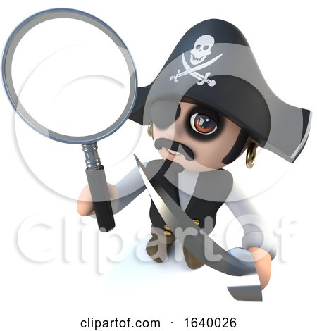 3d Funny Cartoon Pirate Captain Character Holding a Magnifying Glass by Steve Young