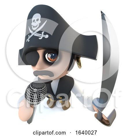 3d Funny Cartoon Pirate Captain Character Singing into a Microphone by Steve Young