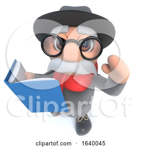 Funny Cartoon 3d Old Man Character Readig a Book by Steve Young