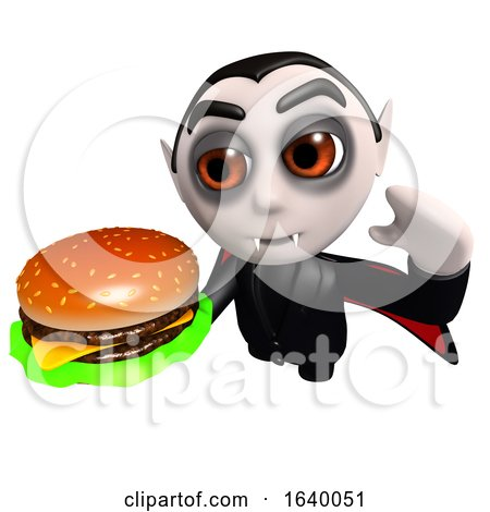 3d Dracula Vampire Character Eating a Cheese Burger by Steve Young
