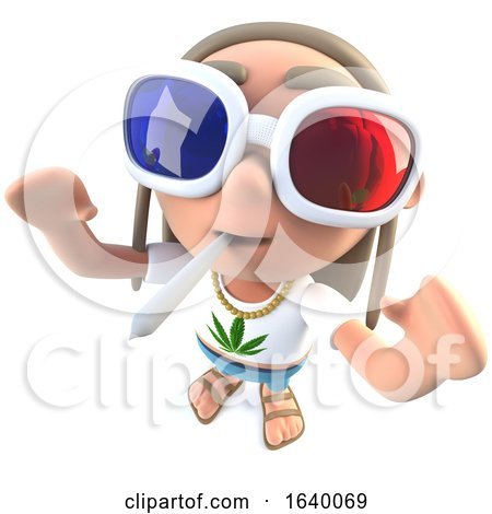 3d Stoner Hippy Character Wearing 3d Glasses and Smoking by Steve Young