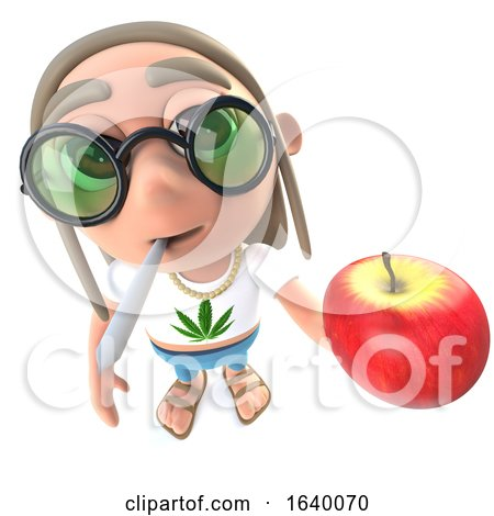 3d Stoner Hippy Character Holding a Juicy Red Apple and Smoking by Steve Young