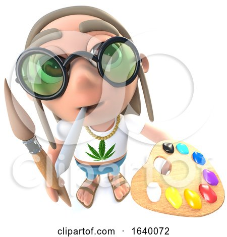 3d Hippy Stoner Character Painting with a Paintbrush and Palette by Steve Young
