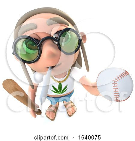 3d Hippy Stoner Character Holding a Baseball Bat and Ball by Steve Young