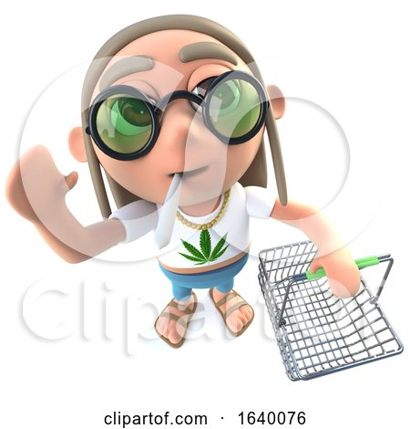 3d Hippy Stoner Character Holding a Shopping Basket by Steve Young