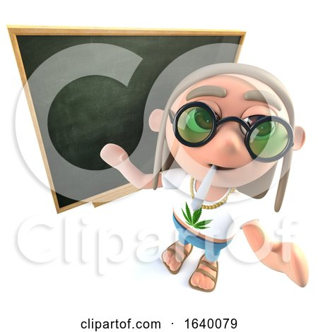 3d Hippy Stoner Character Standing in Front of a Blackboard by Steve Young