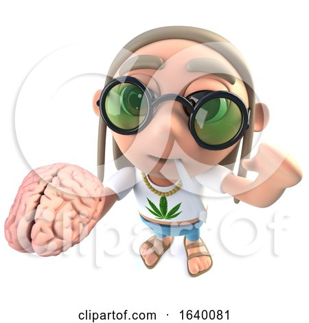3d Hippy Stoner Character Holding a Human Brain by Steve Young