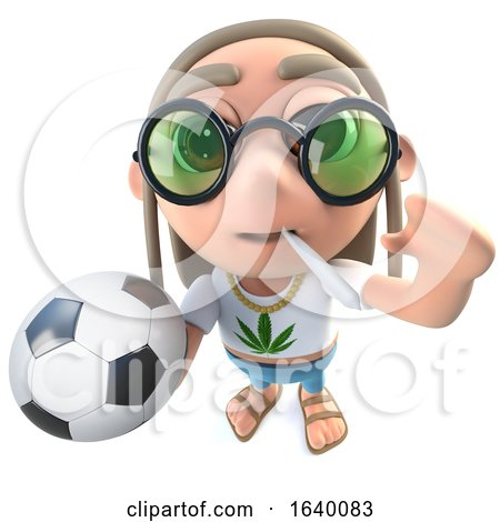 3d Hippy Stoner Character Holding Football Soccer Ball by Steve Young