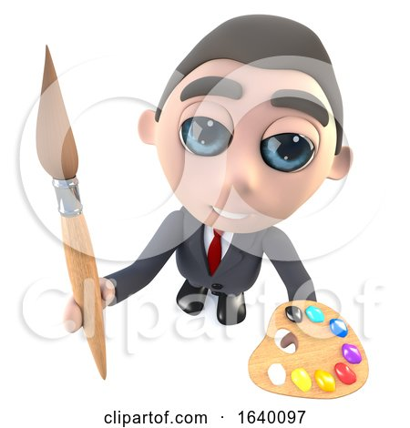 3d Executive Businessman Character Holding a Paint Brush and Palette by Steve Young