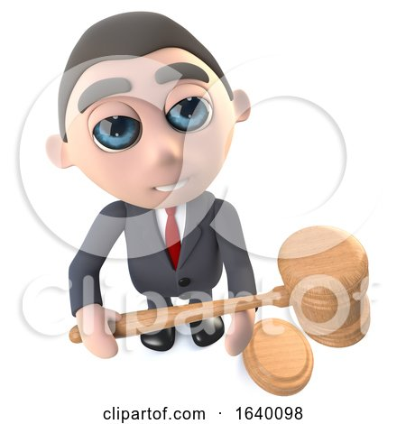 3d Executive Businessman Character Holding an Auction by Steve Young