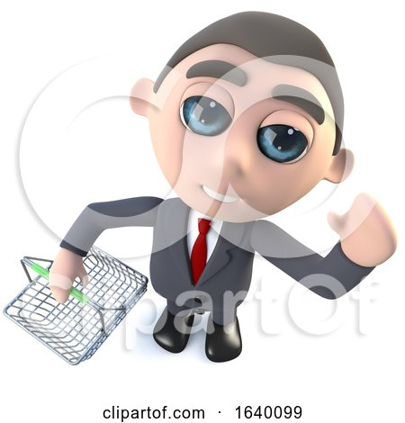 3d Executive Businessman Character Holding a Shopping Basket by Steve Young