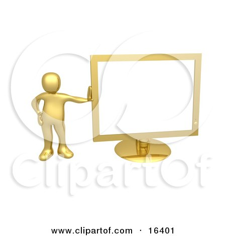 Golden Person Leaning Against a Gold Flat LCD Computer Screen Monitor Clipart Illustration Graphic by 3poD