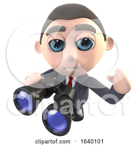 3d Businessman Character Using a Pair of Binoculars by Steve Young