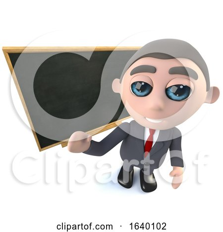 3d Businessman Character Standing in Front of a Blackboard Chalkboard by Steve Young