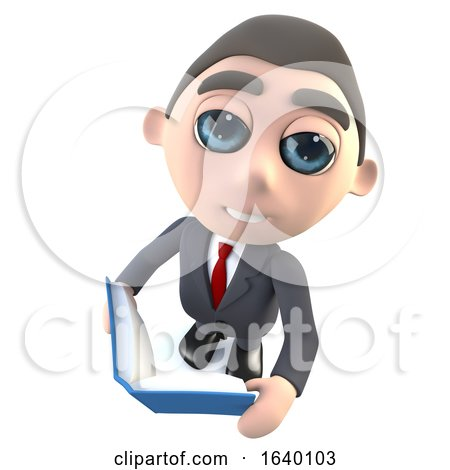 3d Businessman Character Reading a Book by Steve Young