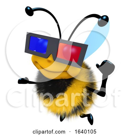 3d Honey Bee Character Wearing a 3d Glasses to Watch a Movie by Steve Young