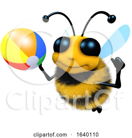 3d Honey Bee Character Playing with a Beachball by Steve Young