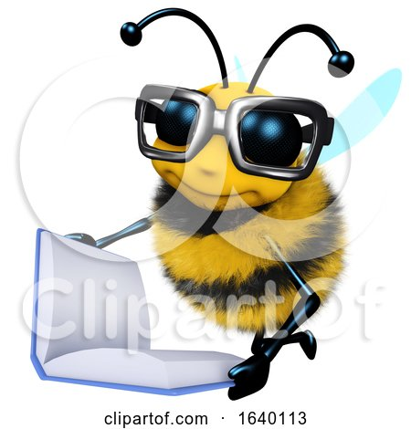 3d Honey Bee Character Is Reading a Book by Steve Young