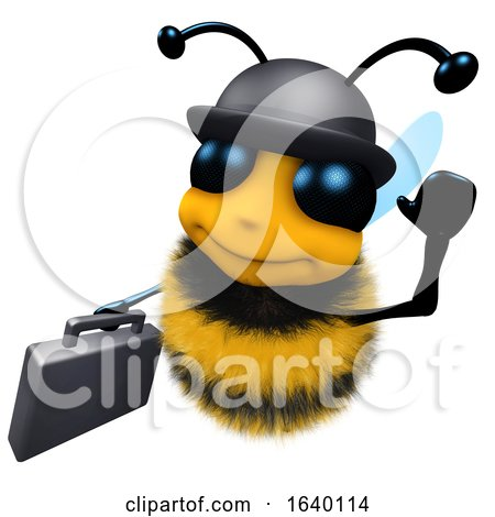 3d Honey Bee Wearing a Bowler Hat and Carrying a Briefcase by Steve Young