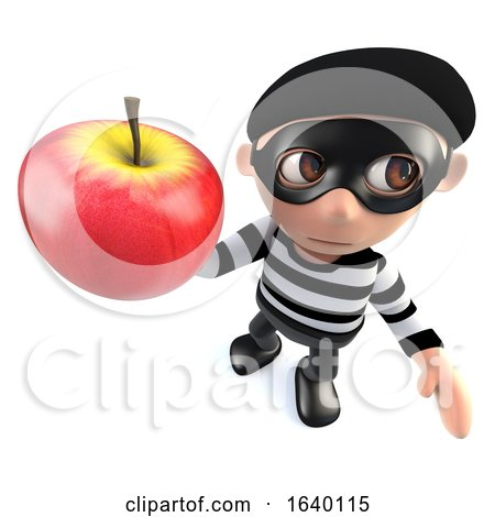 3d Burglar Thief Holding an Apple by Steve Young