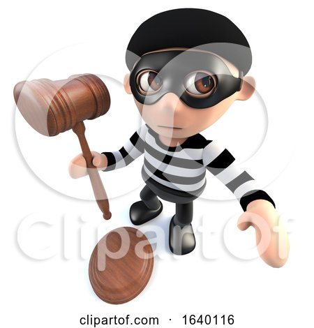 3d Burglar Thief Holding a Judges Gavel by Steve Young
