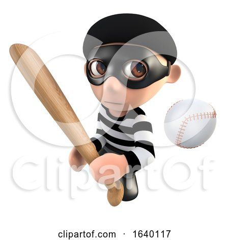 3d Burglar Thief Character with a Baseball Bat and Ball by Steve Young