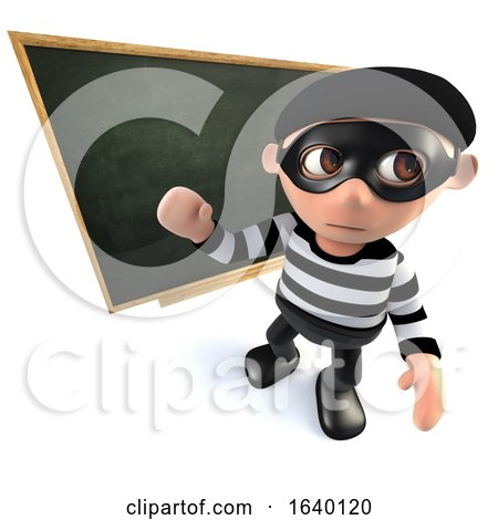 3d Burglar Thief Teaching at the Blackboard by Steve Young