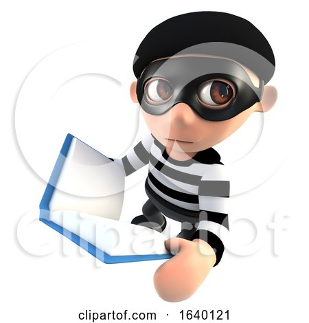 3d Burglar Thief Reading a Book by Steve Young