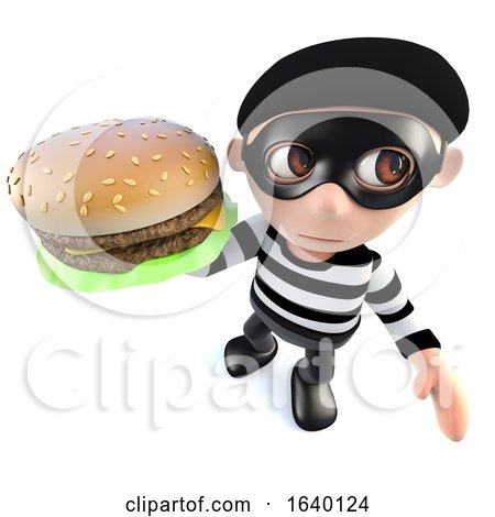 3d Burglar Thief Holding a Cheese Burger by Steve Young