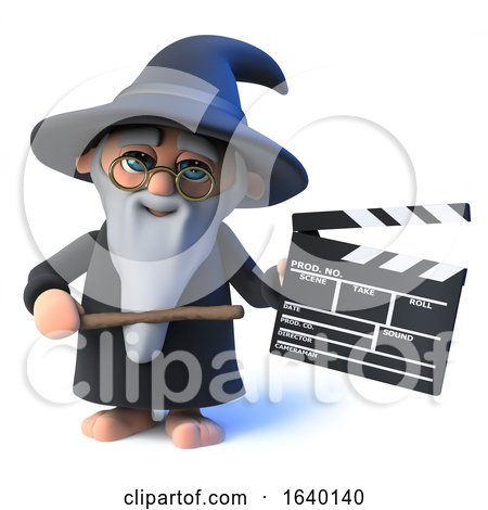 3d Wizard Magician Character Holding a Clapperboard by Steve Young