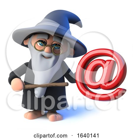 3d Wizard Magician Character Has an Email Address Symbol by Steve Young