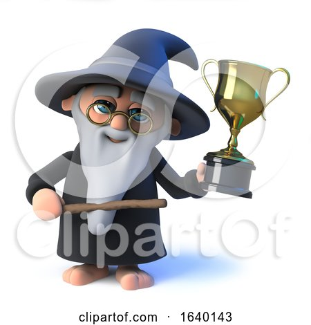 3d Wizard Magician Has Won the Gold Trophy of Success by Steve Young
