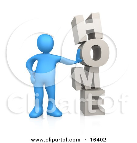 Blue Person Leaning Against the Vertical Word HOME Clipart Illustration Graphic by 3poD