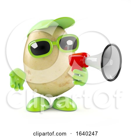 3d Potato Character with a Megaphone by Steve Young